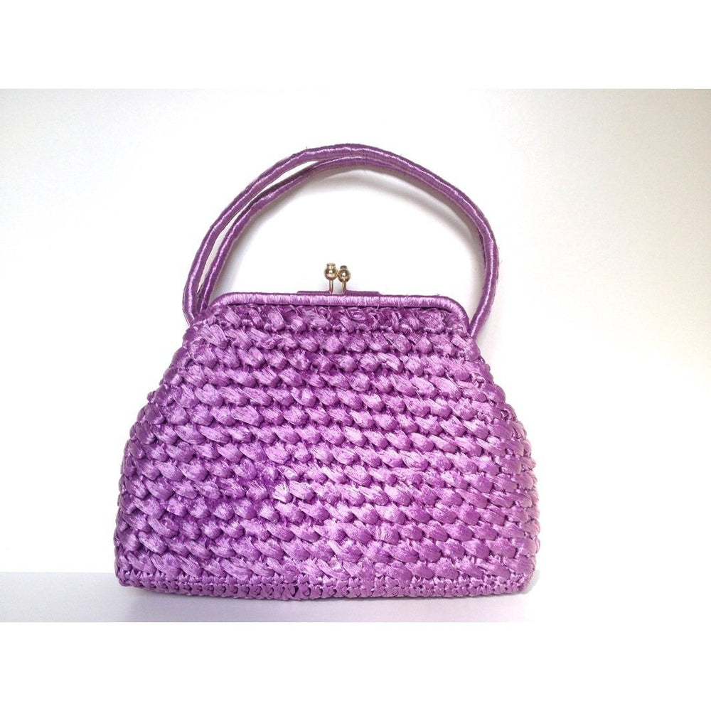 Vintage 50s/60s Stylish Dolce Vita Style Raffia Handbag w/ Top Handles And Gilt Clasp In Vivid Lilac/Lavender-Vintage Handbag, Dolly Bag-Brand Spanking Vintage