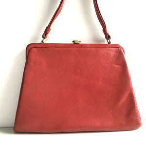 Vintage 60s 70s Leather Kelly Bag, Kelly Bag in Lipstick Red Leather w/ Black Patent Trim By Debonair-Vintage Handbag, Kelly Bag-Brand Spanking Vintage
