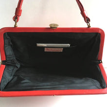Load image into Gallery viewer, Vintage 60s 70s Leather Kelly Bag, Kelly Bag in Lipstick Red Leather w/ Black Patent Trim By Debonair-Vintage Handbag, Kelly Bag-Brand Spanking Vintage