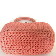 Load image into Gallery viewer, Vintage 60s Crocheted Raffia Style Gilt Clasp Handbag, Dolly Bag, Pinky Peach, Orange Made In Italy, w/ Long Ruched Orange Nylon Gloves-Vintage Handbag, Dolly Bag-Brand Spanking Vintage