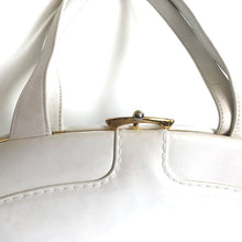 Load image into Gallery viewer, SOLD Vintage 50s 60s Exquisite White Patent Leather Kelly Bag w/ Distinctive Clasp By Waldybag-Vintage Handbag, Kelly Bag-Brand Spanking Vintage