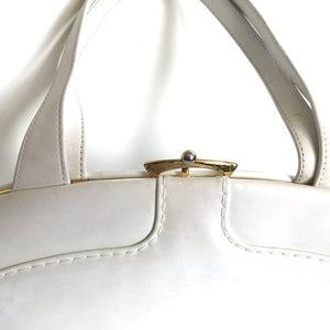 SOLD Vintage 50s 60s Exquisite White Patent Leather Kelly Bag w/ Distinctive Clasp By Waldybag-Vintage Handbag, Kelly Bag-Brand Spanking Vintage