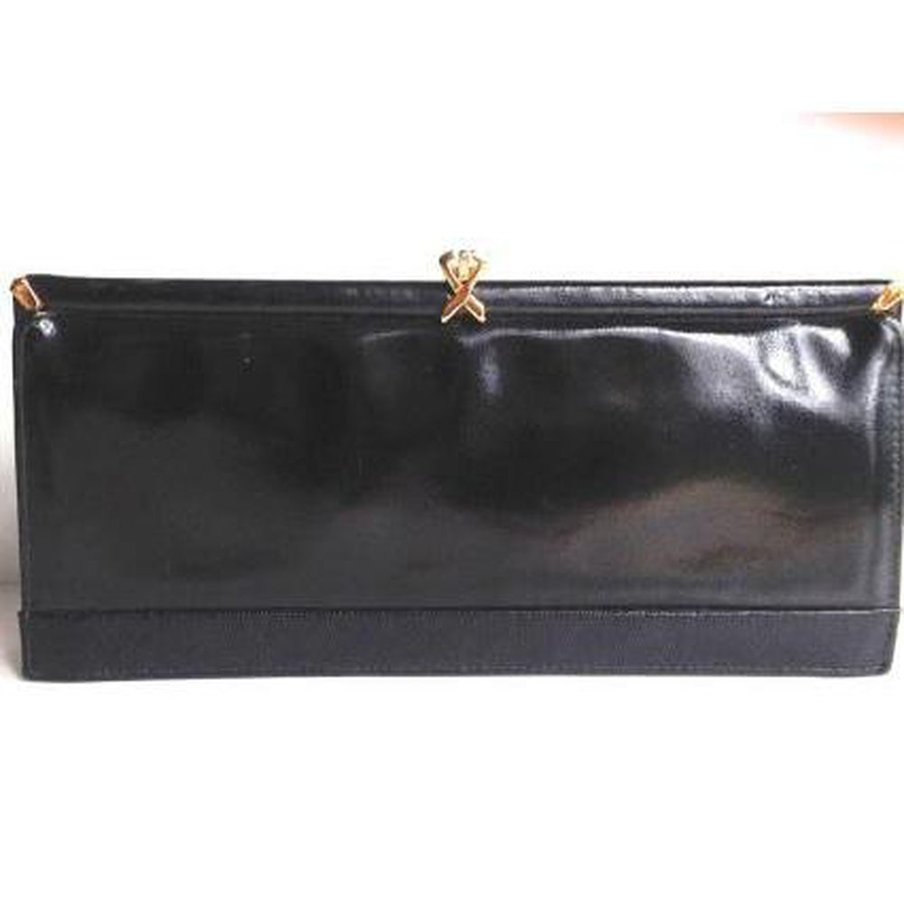 Vintage 60s/70s Black Patent Leather Clutch Day/Evening Bag By Ackery Of London-Vintage Handbag, Clutch Bag-Brand Spanking Vintage