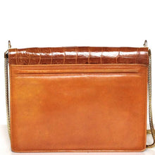 Load image into Gallery viewer, Vintage 60s/70s Dainty Caramel Crocodile And Leather Shoulder Bag w/ Gilt Trim And Long Chain-Vintage Handbag, Exotic Skins-Brand Spanking Vintage