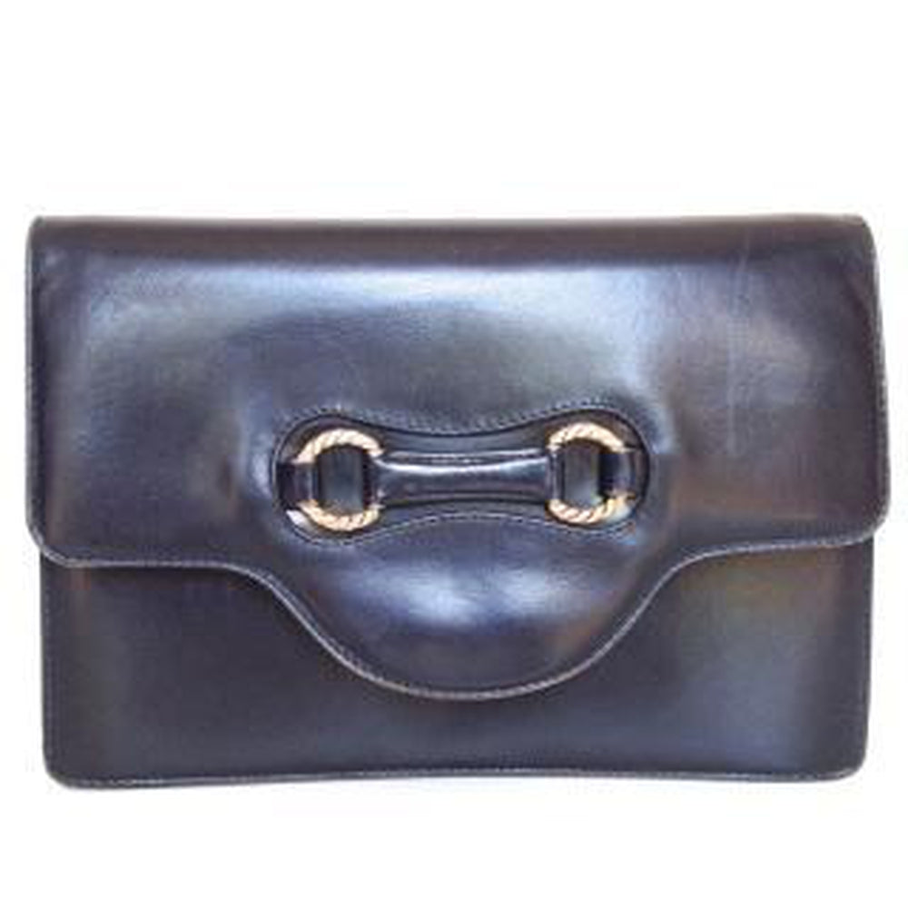 Vintage 60s/70s Small And Neat Navy Leather Clutch Bag w/ Gilt 'Horse Bit' Feature Made In Italy-Vintage Handbag, Clutch Bag-Brand Spanking Vintage