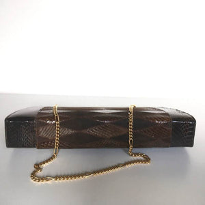 Vintage 70s Clutch Bag In Snake, Suede Leather And Lizard Skin, A Harlequin Patchwork Clutch Bag w/ Optional Gilt Chain In Rich Chocolate Browns-Vintage Handbag, Exotic Skins-Brand Spanking Vintage