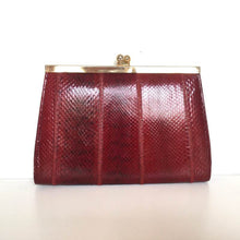 Load image into Gallery viewer, Vintage 70s Dainty Deep Red Snakeskin Clutch Bag, w/ Gilt Kisslock Clasp And Optional Snake Shoulder Chain By Cano-Vintage Handbag, Exotic Skins-Brand Spanking Vintage