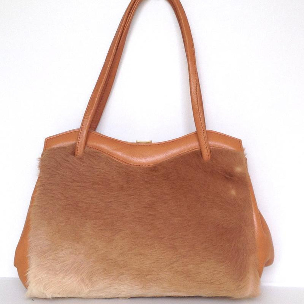 Vintage 70s Large Kangaroo Fur And Leather Pristine Twin Handled Handbag By M&H Levy Pty Sydney Australia-Vintage Handbag, Exotic Skins-Brand Spanking Vintage