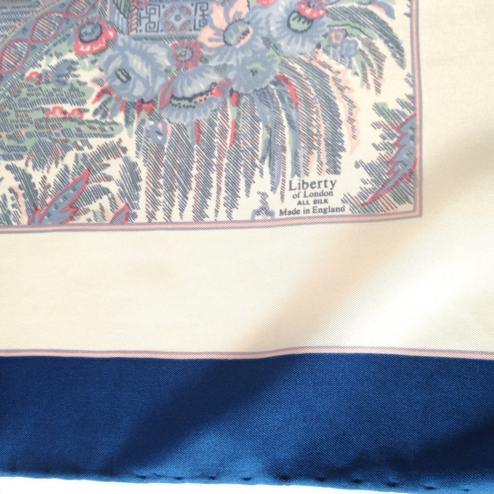 Vintage 70s Large Silk Scarf In Delicate Shades Of Blue/Pink On A Cream Background By Liberty Of London-Scarves-Brand Spanking Vintage