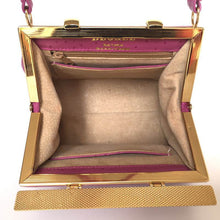 Load image into Gallery viewer, Vintage 70s Pink Leather Tiny Kelly Bag, Top Handle Bag, w/ Lift Up Double Gilt Clasp, In Faux Ostrich Leather And Suede Lining By Degree-Vintage Handbag, Kelly Bag-Brand Spanking Vintage