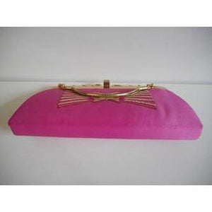 Vintage 70s Unused Shocking Pink Raw Silk Evening/Occasion Bag w/ Optional Long Chain-Vintage Handbag, Evening Bag-Brand Spanking Vintage