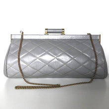 Load image into Gallery viewer, Vintage 70s/80s Elegant Grey Leather Quilted Clutch Bag w/ Dainty Barrel Leather And Gilt Clasp And Optional Fold Out Chain By Jane Shilton-Vintage Handbag, Clutch Bag-Brand Spanking Vintage