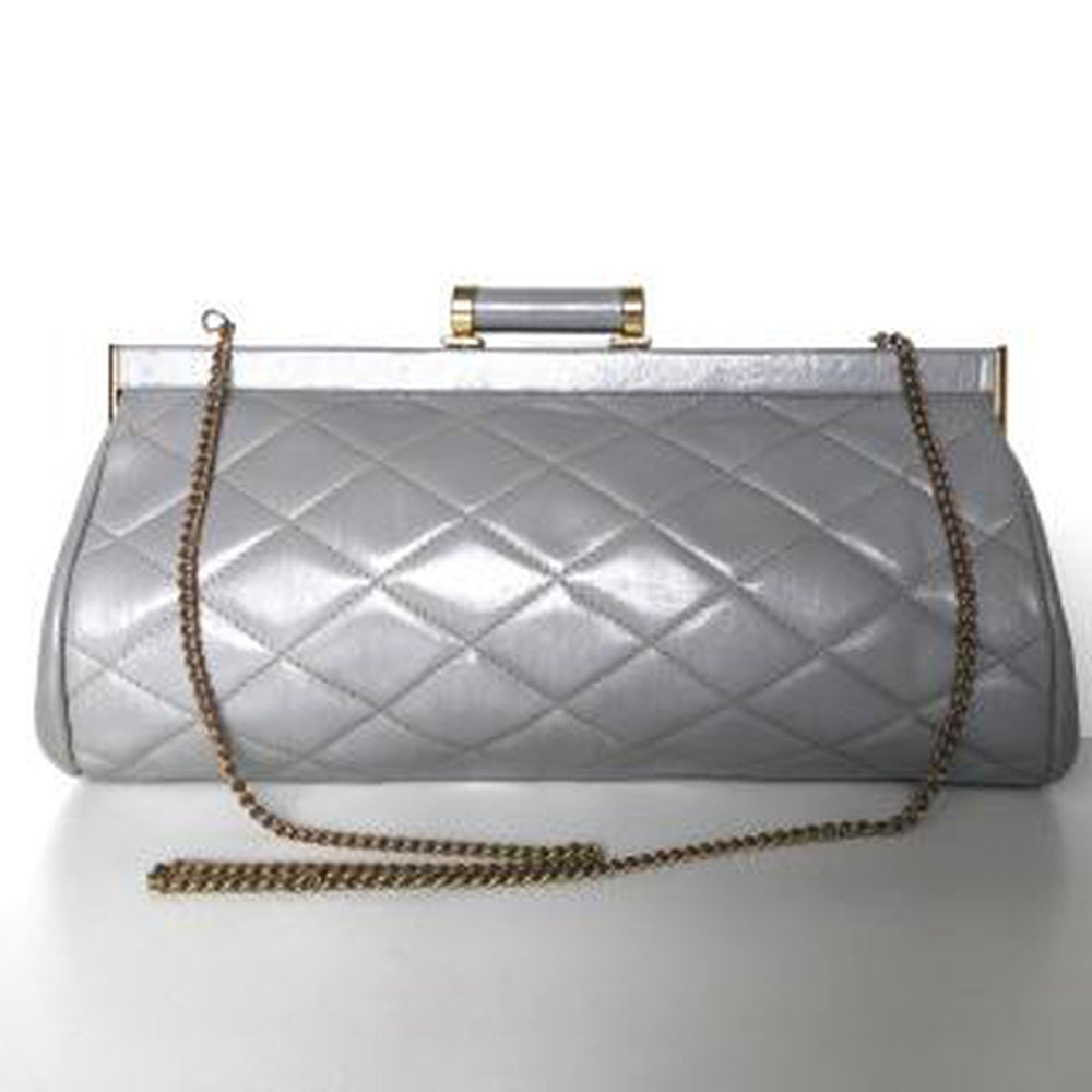 Vintage 70s/80s Elegant Grey Leather Quilted Clutch Bag w/ Dainty Barrel Leather And Gilt Clasp And Optional Fold Out Chain By Jane Shilton-Vintage Handbag, Clutch Bag-Brand Spanking Vintage