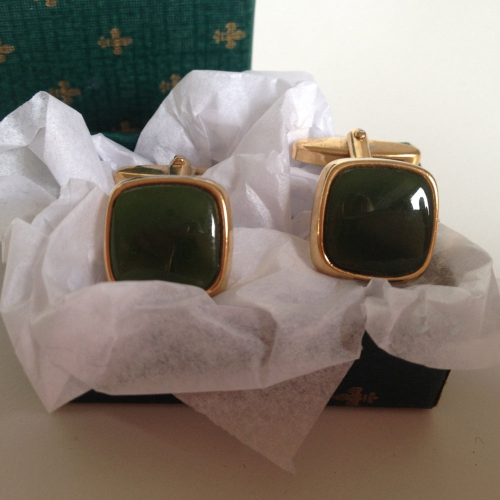 Vintage 80s Faux Jade And Gilt Men's Cufflinks-Accessories, For Him-Brand Spanking Vintage