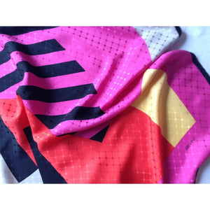 Vintage 80s Large Silk Scarf In Black/Fuchsia/Red/Yellow By Sevini Made In Germany-Scarves-Brand Spanking Vintage