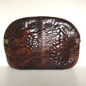 Vintage 80s Large Turtle Skin Clutch Bag In Rich Conker Brown w/ Optional Decorative Chain By Ottino Made In Florence Italy-Vintage Handbag, Exotic Skins-Brand Spanking Vintage