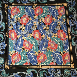 SOLD Vintage 80s Large Varuna Wool Shawl Wrap Scarf In Stunning Art Nouveau Design In Blue, Red And Green By Liberty Of London-Scarves-Brand Spanking Vintage
