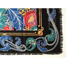 Load image into Gallery viewer, SOLD Vintage 80s Large Varuna Wool Shawl Wrap Scarf In Stunning Art Nouveau Design In Blue, Red And Green By Liberty Of London-Scarves-Brand Spanking Vintage