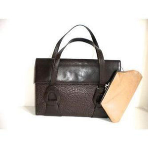 Vintage 40s Chocolate Brown Leather And Labrador Sealskin Handbag w/ Pigskin Lining And Matching Coin Purse by Waldybag-Vintage Handbag, Large Handbag-Brand Spanking Vintage