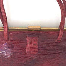 Load image into Gallery viewer, Vintage Bag, Purse, 1950s, In Deep Red Lizard Skin In Kelly Bag Style, Oyster Satin Lining And Fixed Coin Purse-Vintage Handbag, Exotic Skins-Brand Spanking Vintage