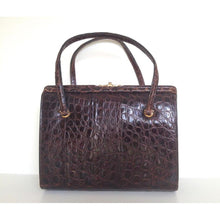 Load image into Gallery viewer, Vintage Dainty 50s Twin Handled Glossy Rich Chocolate Alligator Skin Handbag Made In France-Vintage Handbag, Exotic Skins-Brand Spanking Vintage
