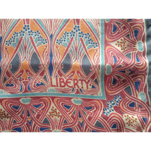 Load image into Gallery viewer, Vintage Large Silk Scarf By Liberty Of London In 'Ianthe' Design In Rare Grey/Pink/Orange/Turquoise Colourway-Scarves-Brand Spanking Vintage