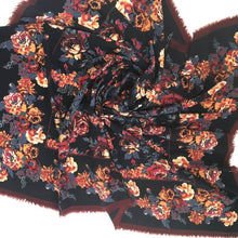 Load image into Gallery viewer, Vintage Liberty Of London Large Varuna Wool Scarf, Shawl, Wrap In Striking Design, Rose And Paeony In Black, Gold, Rust And Grey-Scarves-Brand Spanking Vintage