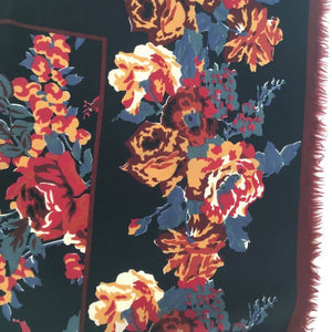 Vintage Liberty Of London Large Varuna Wool Scarf, Shawl, Wrap In Striking Design, Rose And Paeony In Black, Gold, Rust And Grey-Scarves-Brand Spanking Vintage