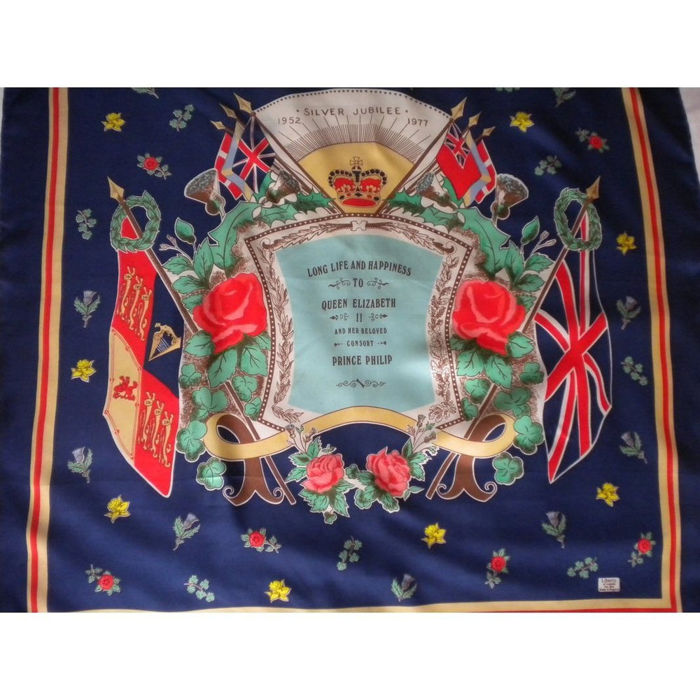 Vintage Liberty Of London Silk Scarf To Commemorate H.M.The Queen's Silver Jubilee 1952 - 1977-Scarves-Brand Spanking Vintage