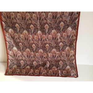 Vintage Liberty Of London Unworn Small Silk Scarf In Iconic 'Hera' Design In Rust And Taupe On A Black Background-Scarves-Brand Spanking Vintage