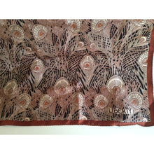 Load image into Gallery viewer, Vintage Liberty Of London Unworn Small Silk Scarf In Iconic 'Hera' Design In Rust And Taupe On A Black Background-Scarves-Brand Spanking Vintage