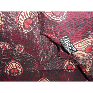 "Vintage Liberty Of London Varuna Wool Wrap/Shawl In Sought After ""Hera' Design In Red, Black And Cream-Scarves-Brand Spanking Vintage"