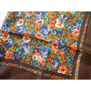 Vintage Liberty Silk Square In Browns And Oranges With Blue-Scarves-Brand Spanking Vintage
