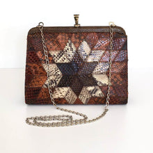 Load image into Gallery viewer, Vintage Small And Dainty Snakeskin Clutch/Chain Bag In Starburst Design-Vintage Handbag, Exotic Skins-Brand Spanking Vintage