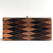 Load image into Gallery viewer, Vintage Snakeskin And Leather 70s Harlequin Patchwork Slim And Elegant Clutch Bag By Ackery In Brown, Caramel And Black-Vintage Handbag, Exotic Skins-Brand Spanking Vintage