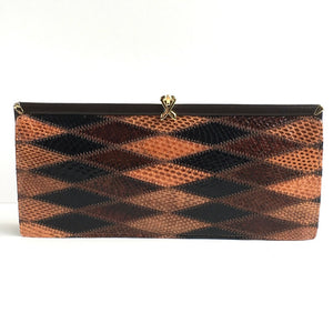 Vintage Snakeskin And Leather 70s Harlequin Patchwork Slim And Elegant Clutch Bag By Ackery In Brown, Caramel And Black-Vintage Handbag, Exotic Skins-Brand Spanking Vintage