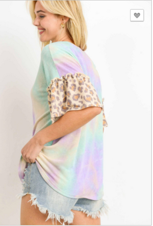 sale! TIE-DYE LEOPARD TOP, RUFFLED SHORT SLEEVES- mid July