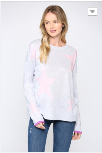 Sale! STAR INTARSIA SWEATER- Heather Grey/Pink