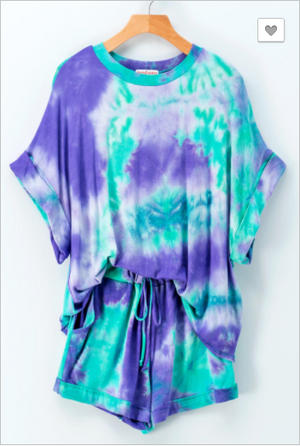 SALE! REAL TIE DYE DOLMAN TOP SHORTS SET