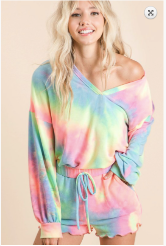Sale! TIE DYE FRENCH TERRY TOP ONLY WITH BALLOON SLEEVES Due END OF AUG S-XL