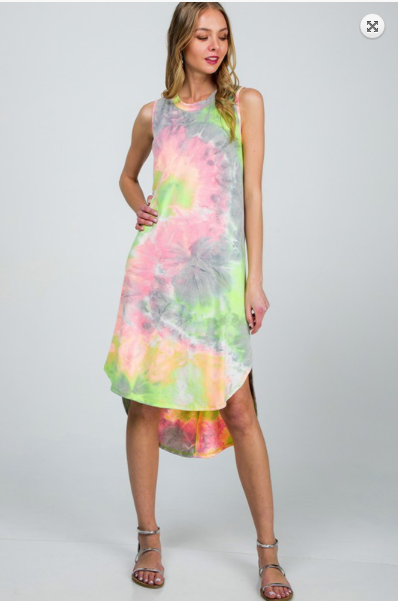 Sale! TIE DYE  SLEEVELESS DRESS- Green/Grey