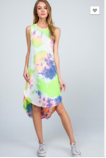 SALE! High Low Tie Dye Dress Green/Blue
