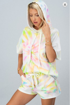 SALE! TIE DYE TWIST FRENCH TERRY HOODIE SET- End of June