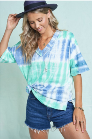 SALE! TIE DYE PRINT V-NECKLINE TOP Blue/Aqua due End of July
