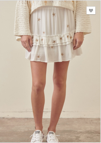 SALE! Ruffled Skirt- White/Gold or Blush/White