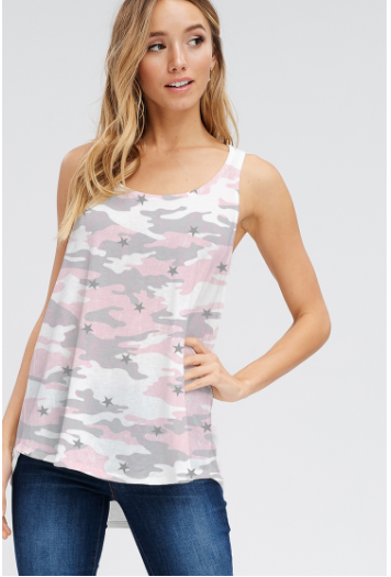 SALE! Camo all over tank top ** you are buying this without the stars!!! Plain pink camo