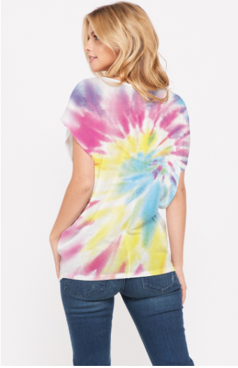 sale!Tie dye v neck dolman short sleeve top