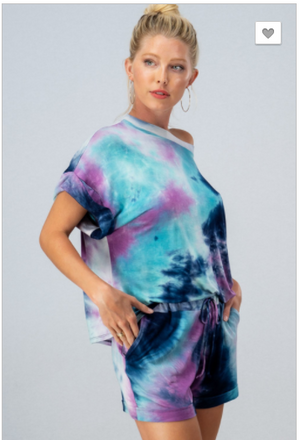 SALE! REAL TIE DYE DOLMAN TOP SHORTS SET-