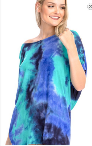 TIE DYE OPEN BACK TUNIC TOP Mint