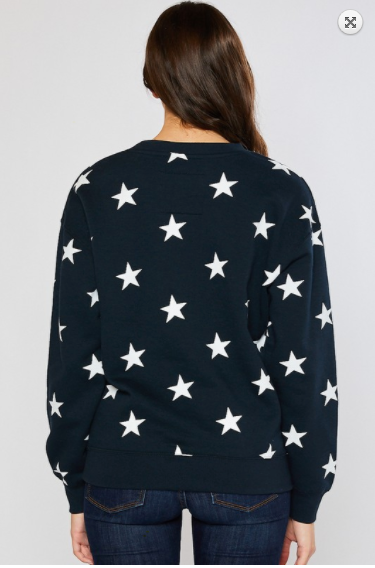 SALE! BRUSHED  ALL-OVER STAR PRINTING PULLOVER SWEATSHIRTS- Black